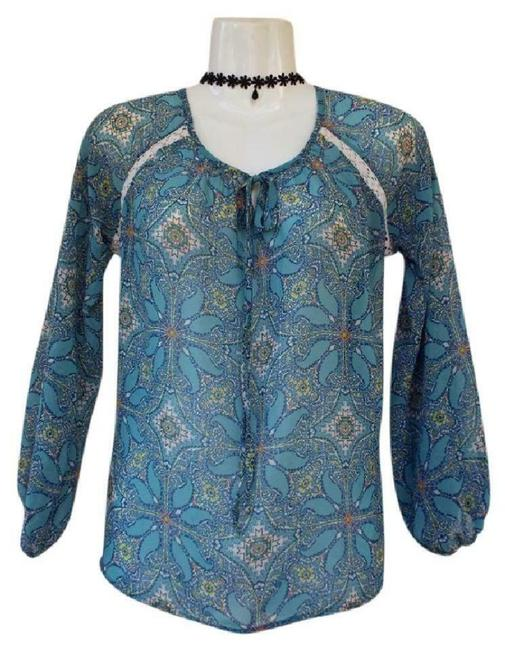 Item - Blue XS Nordstrom Sheer Peasant Floral Blouse Size 0 (XS)