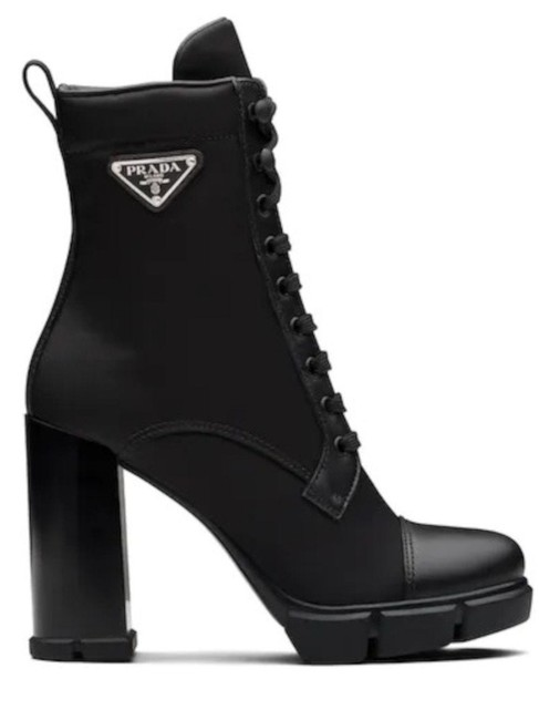 Item - Black Leather and Nylon Fabric Boots/Booties Size EU 37.5 (Approx. US 7.5) Regular (M, B)