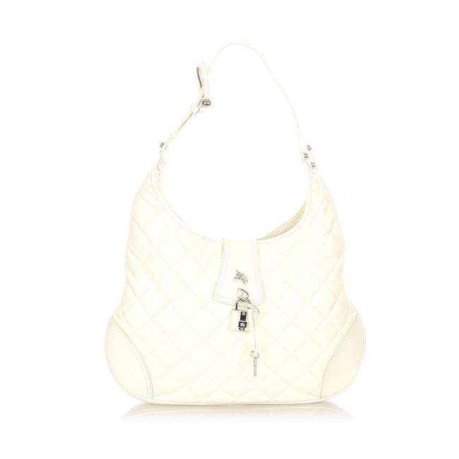 Item - Quilted Brooke White Leather Hobo Bag