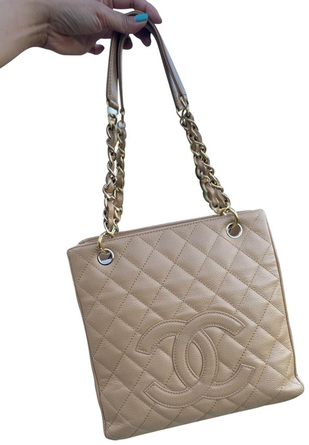Item - Shopping Pst Beige Caviar Leather Tote
