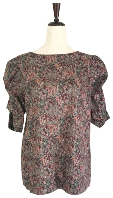 Item - Red Green Tabby Puff Sleeve Paisley Cotton Blouse Size 4 (S)