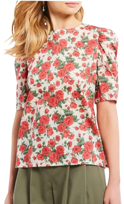 Item - Red Ivory Hawn Rose Print Puff Sleeve Cotton Blouse Size 2 (XS)
