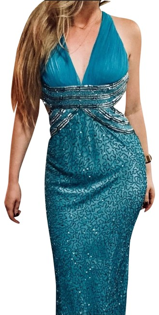 Item - Blue Turquoise Silk Bead Ball Gown Maxi Floor Length Formal Dress Size 4 (S)