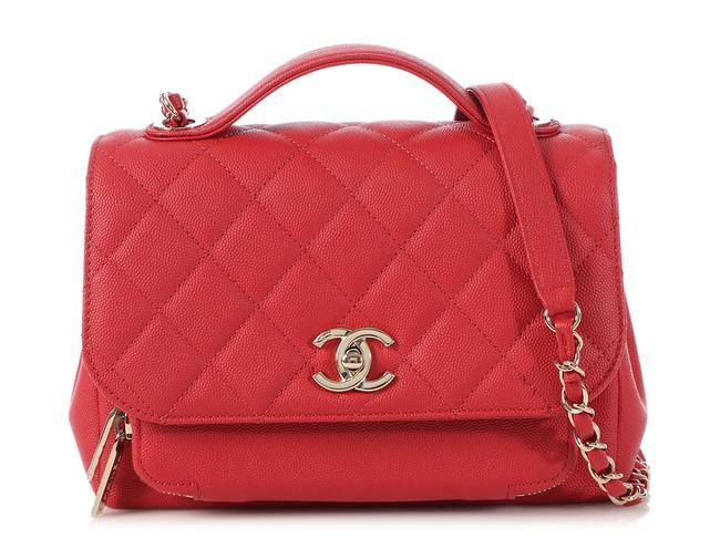 Item - Business Affinity Flap Medium Quilted Caviar Red Leather Cross Body Bag
