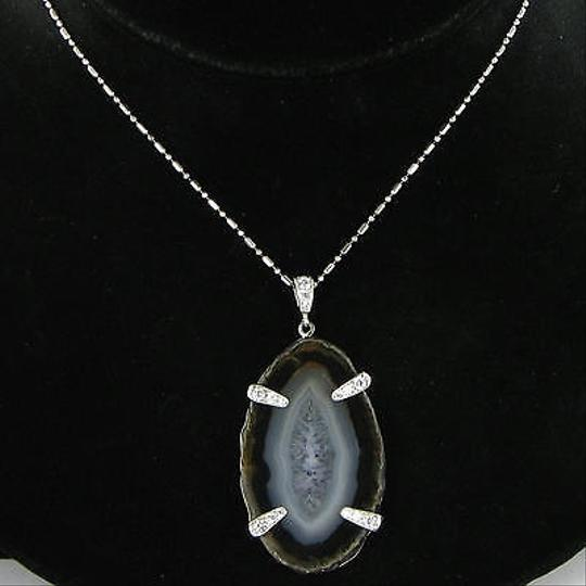Anzie Anzie Plum Agate Pave Pendant Necklace White Topaz Sterling Silver