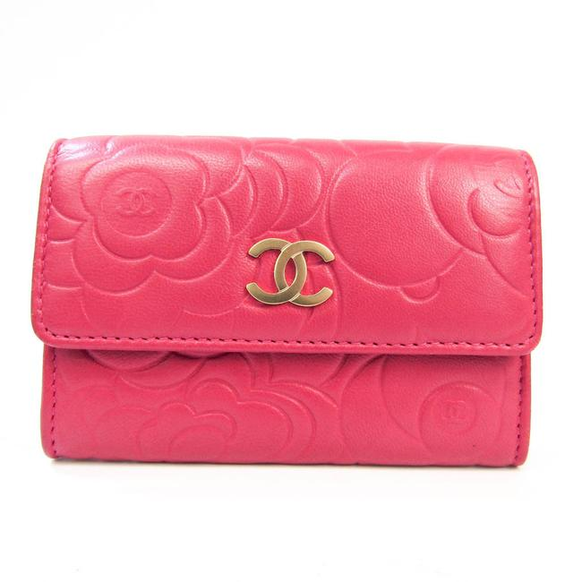Item - Pink Camellia Leather Business Card Wallet