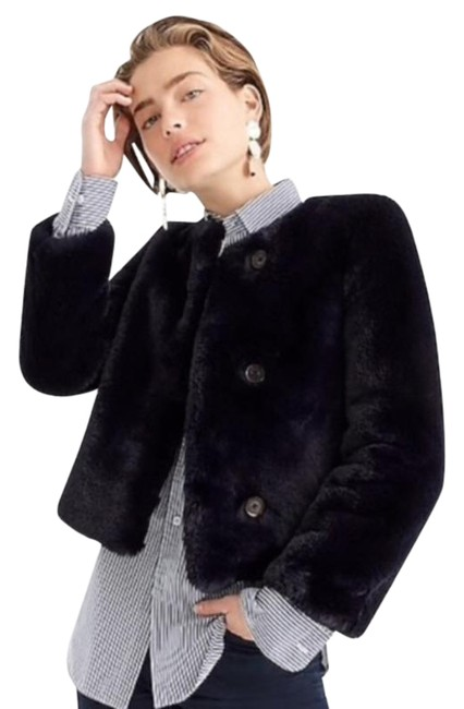 Item - Blue Cropped Faux Fur Coat Navy Small Jacket Size 6 (S)
