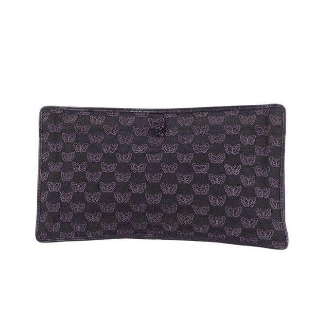 Item - Butterfly Ladies Second Leather Black Canvas Clutch