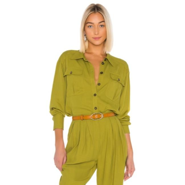 Item - Green Candance Button Up In Kermit Blouse Size 6 (S)