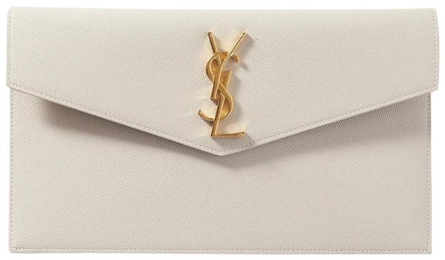 Item - Uptown Pouch Ivory Textured Leather Clutch