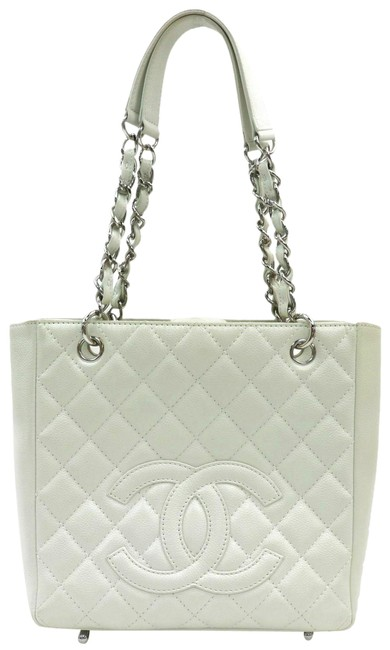 Item - Shoulder Bag Quilted Chain Caviar Skin #18967c12b White Tote