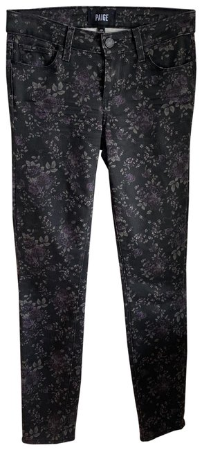 Item - Black with Floral Design Coated Verdugo Ankle Skinny Jeans Size 0 (XS, 25)