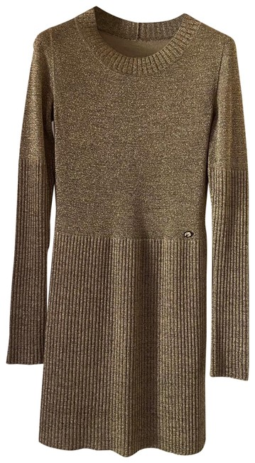 Item - Shimmer Metallic Sweater with Contrast Rib Stitching Mid-length Short Casual Dress Size 4 (S)