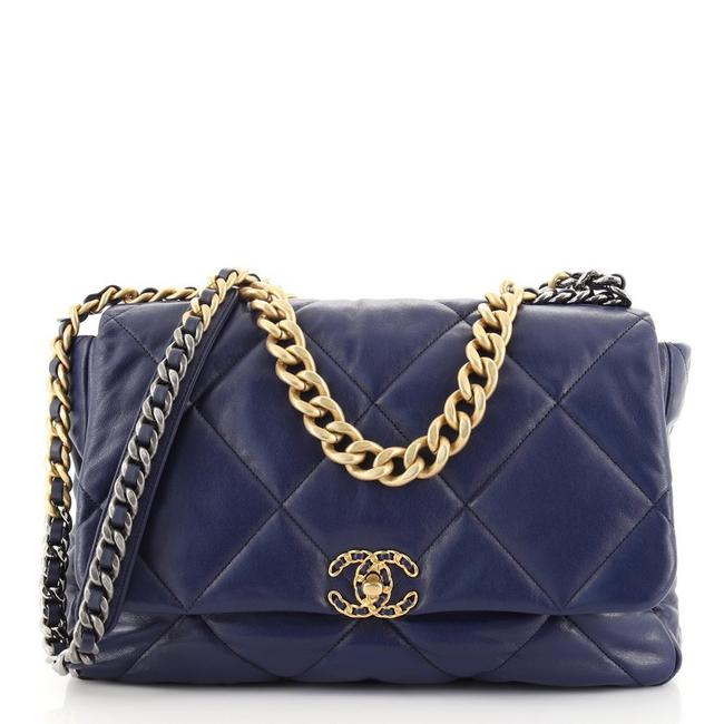 Item - Classic Flap 19 Quilted Goatskin Maxi Blue Leather Shoulder Bag