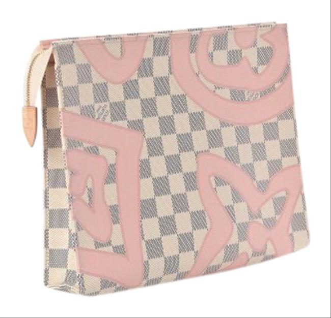 Item - Like New Rare Tahitienne Pink Damier Azur Canvas Clutch