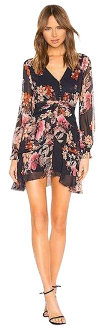 Item - Blue Rust Floral Pintuck Mini In Navy Short Cocktail Dress Size 2 (XS)