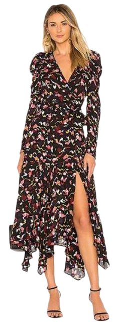 Item - Black Red L Coral Multi Silk Tianna Floral Long Night Out Dress Size 4 (S)