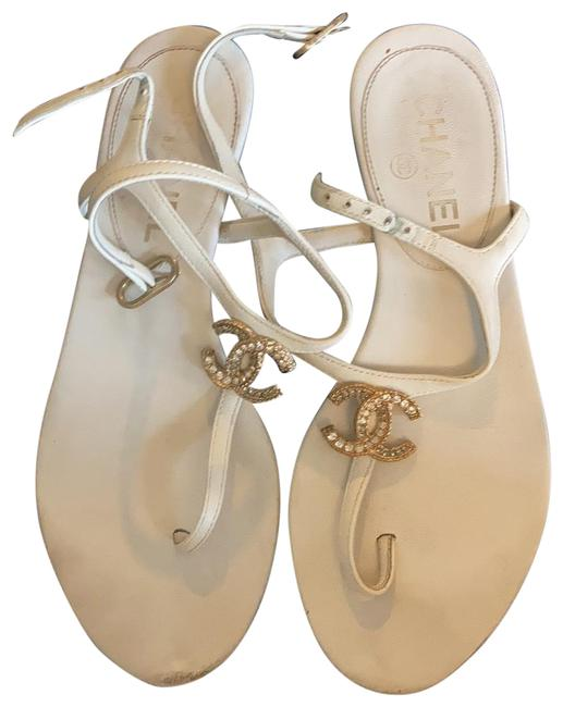 Item - White Leather Thong Sandals Size EU 35 (Approx. US 5) Regular (M, B)