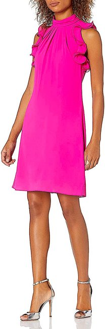 Item - Fuchsia with Tag Souffle Chiffon High Neck Float Ruffles At Armholes Short Night Out Dress Size 6 (S)