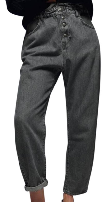 Item - Black Baggy Paper Bag Button Relaxed Fit Jeans Size 29 (6, M)