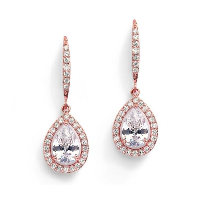 Item - Rose Gold Crystal Pear Event Earrings