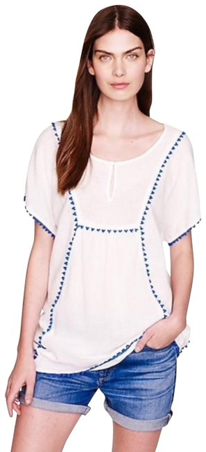 Item - White Blue Pom Pom Tunic Top/Cover Up Blouse Size 4 (S)