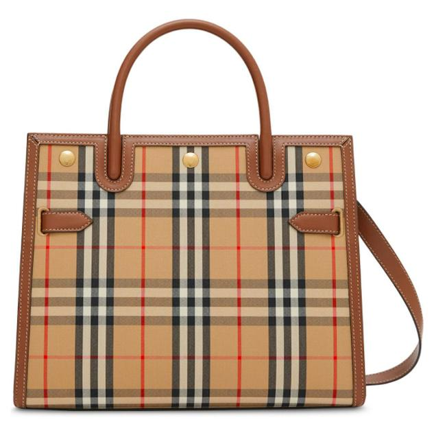 Item - Shoulder Bag Title Satchel Purse Check Brown Beige Canvas and Leather Tote
