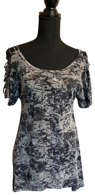 Item - Black Grey Shoulder Detail Over-sized Tee Tunic Size 2 (XS)