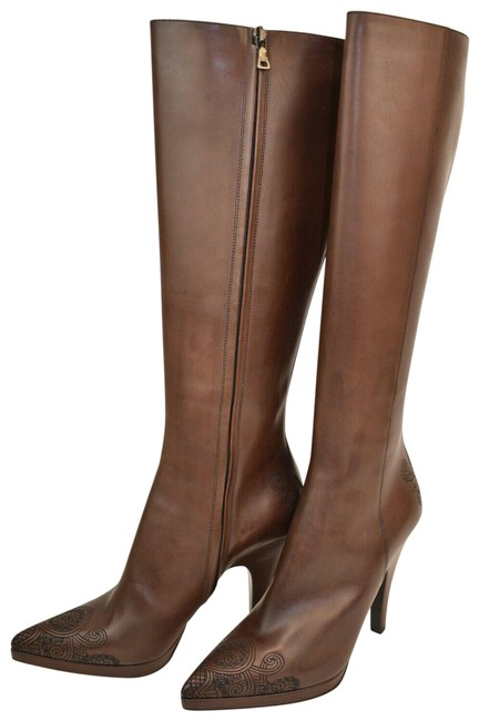 Item - Brown Distressed Leather Zip Embroidered Knee High Pumps Boots/Booties Size EU 39.5 (Approx. US 9.5) Regular (M, B)
