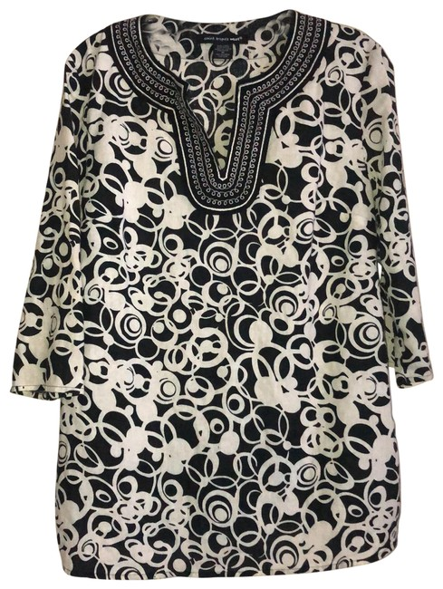 Item - Navy and White Linen Blend Embroidered Neckline Tunic Size 10 (M)