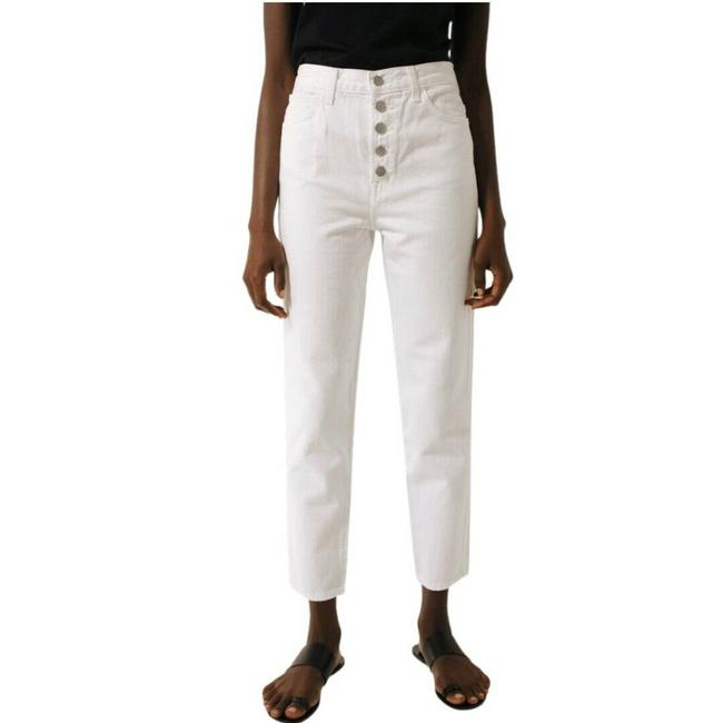 Item - White Heather Button Fly High Rise Slim Crop Straight Leg Jeans Size 30 (6, M)