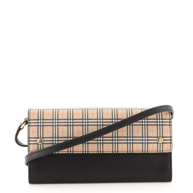 Item - Black Brown on Chain Henley Leather with Vintage Check Canvas Wallet