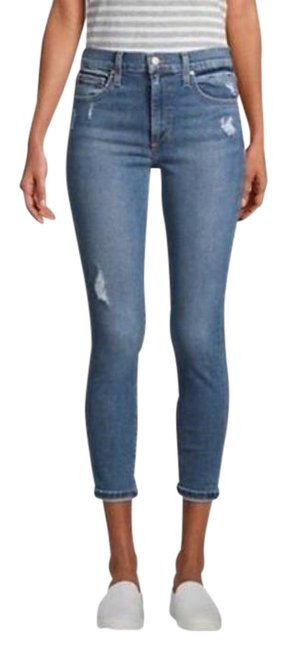 Item - Blue Light Wash High-rise Cropped Skinny Jeans Size 27 (4, S)