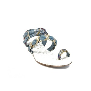 Chanel Blue Gold Red White Sandals