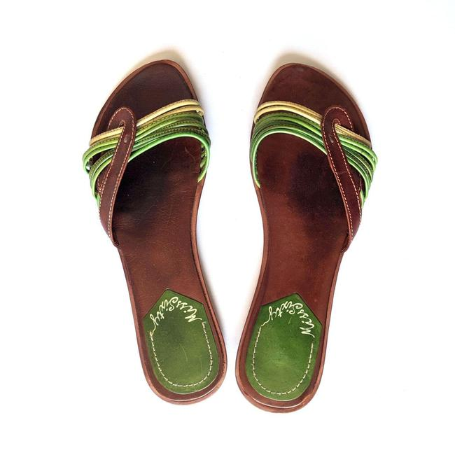 Item - Green Brown Strappy Leather Flip Flops Sandals Size EU 41 (Approx. US 11) Regular (M, B)