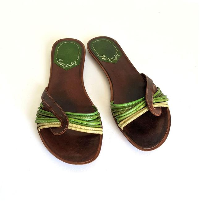 Miss Sixty Green Brown Strappy Leather Flip Flops Sandals Size EU 41 (Approx. US 11) Regular (M, B) Miss Sixty Green Brown Strappy Leather Flip Flops Sandals Size EU 41 (Approx. US 11) Regular (M, B) Image 2