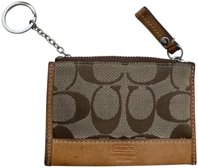 Item - Tan Leather & Canvas Cardholder Keychain Wallet