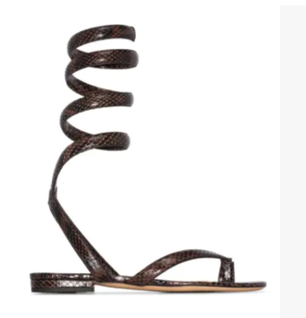 Item - Brown Snake Print Bv Spiral Coil Snake-effect Leather In Chocolate Sandals Size US 7 Regular (M, B)