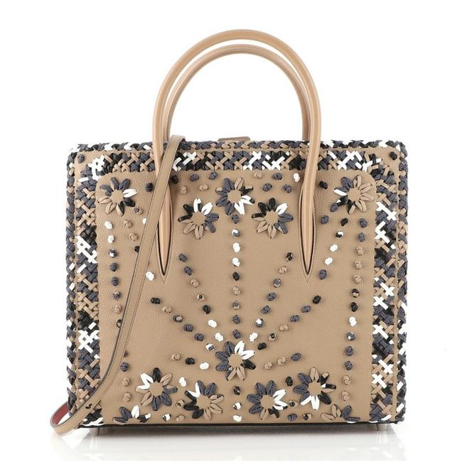 Item - Paloma Mixed Embroidery Large Brown Leather Tote
