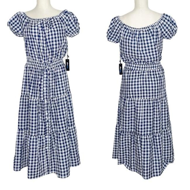 Item - Gingham Tired Puff Sleeve Midi Mid-length Casual Maxi Dress Size 8 (M)