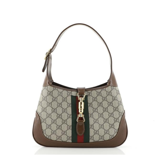 Item - Jackie 1961 Gg Small Brown Canvas Coated Leather Hobo Bag