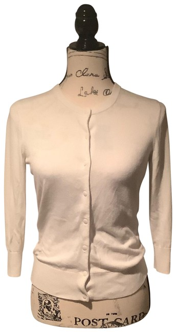 Item - Ivory 3/4 Sleeve Button Front Sweater Cardigan Size 4 (S)