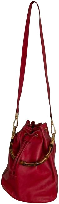 Item - Bamboo Night Vintage Red Leather Cross Body Bag