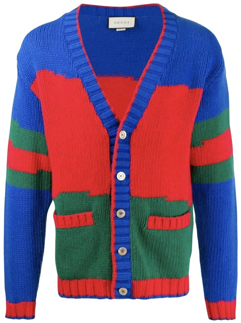 Item - Blue Green Red Web Colorblock Wool Oversized Sweater Cardigan Size 2 (XS)