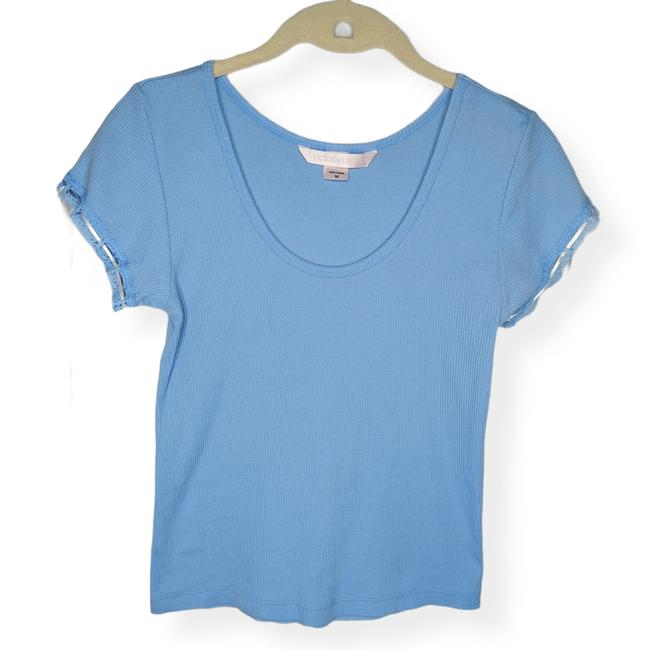 Item - Blue Lace Up Sleeve Tee Shirt Size 8 (M)