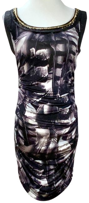 Item - Black Gray Jersey Beaded Ruched Knit Short Night Out Dress Size 6 (S)