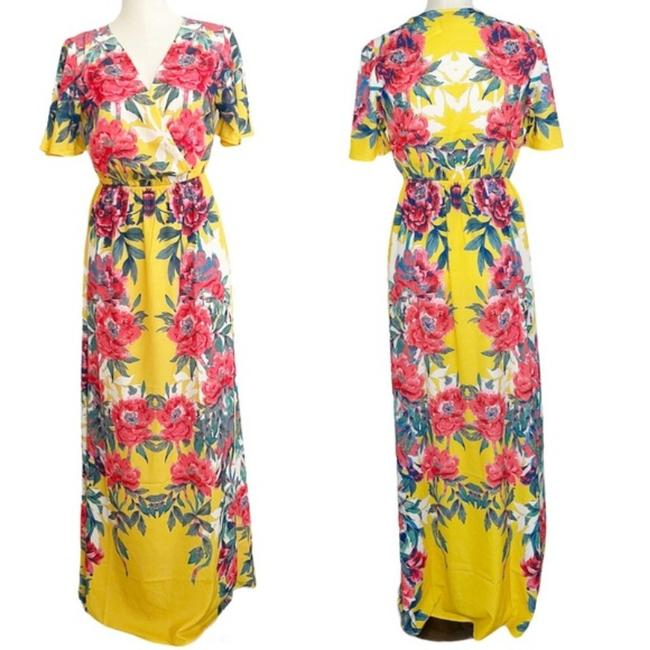 Item - Yellow Nwot Floral Bohemian Small Long Casual Maxi Dress Size 6 (S)