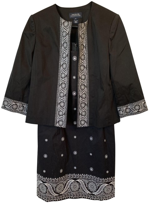 Item - Black with White Embroidery 2 Piece Mid-length Work/Office Dress Size 8 (M)