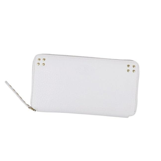 Item - White Triomphe Purse Studs Coin Textured Leather Ladies Wallet