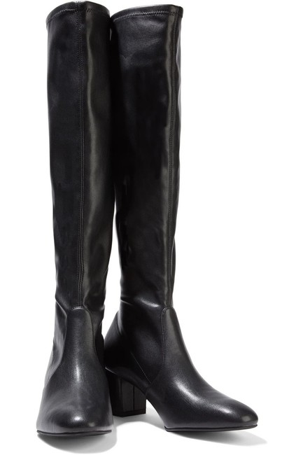 Item - Black Frannie 60 Stretch Leather Knee High Boots/Booties Size US 10.5 Regular (M, B)